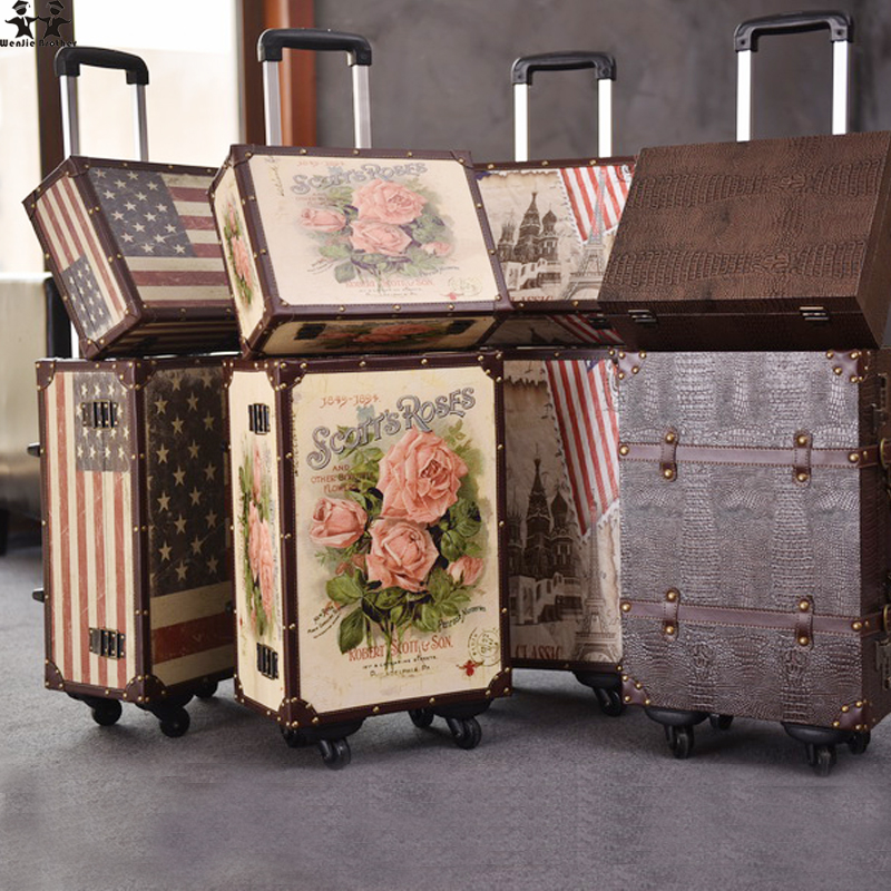 wenjie brother 2PCS/SET 14inch Cosmetic bag plus 20inches resto PU leather roses couple trolley travel bag luggag for unisex