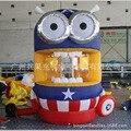 Capitão América minion despicable me cartoon inflável máquina de fazer dinheiro para a velocidade jogos infláveis da promoção