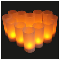 12pces Flameless LED Rechargeable LED Flickering Light Tealight Tea Candles Holiday Party Wedding Home Decorative Light