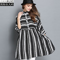 long Shirt Dress Europe and America Ladies Style loose Batwing Sleeve Long Black White Striped Blouse Women 2016 Big Size 4XL
