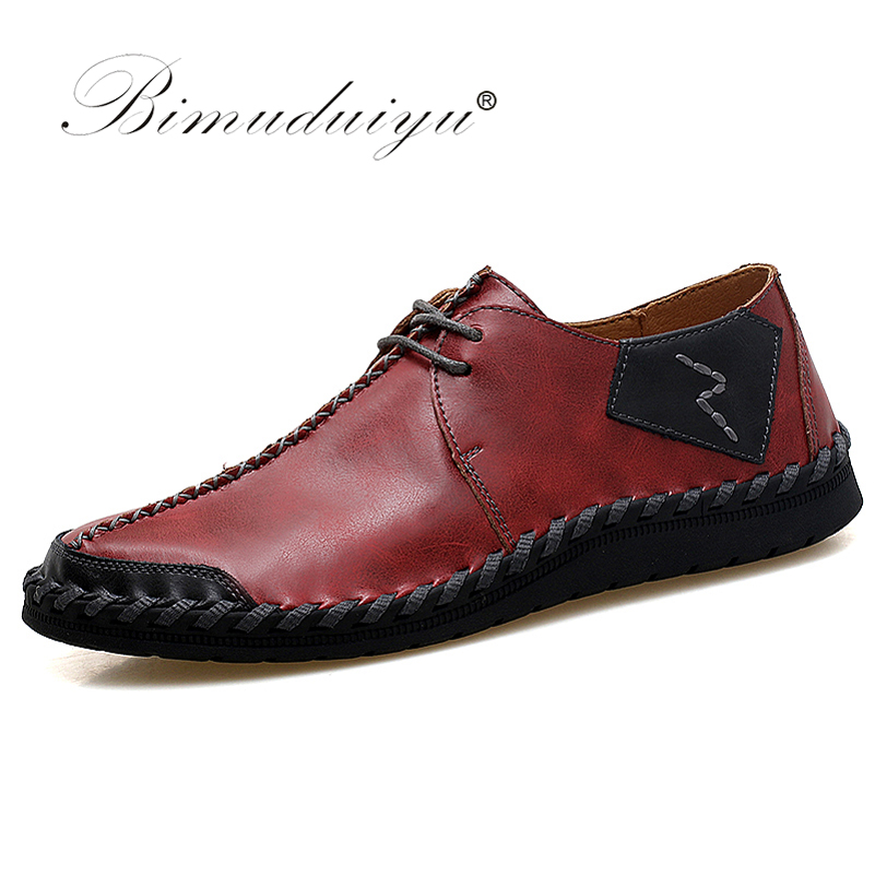 BIMUDUIYU Brand Fashion Breathable Shoes Leather Shoes Lace Up Moccasins Flats Mens Casual Shoes Hot Sale Large Sizes 38-47 cimim brand new hot sale men flats shoes fashion mens shoes casual comfortable mens shoes large sizes 38 48 superstar zapatos