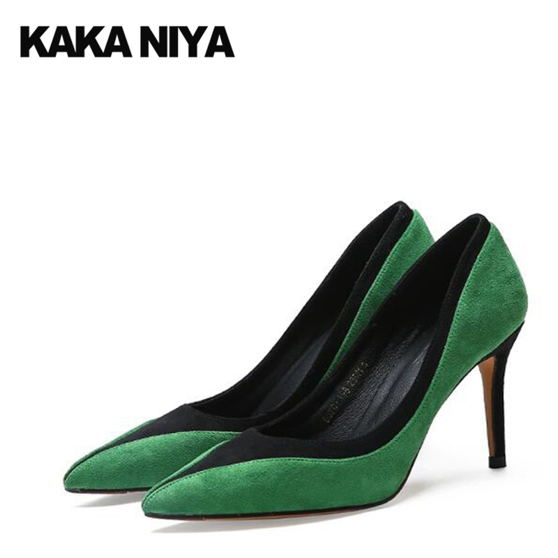 Special Green Dress Shoes Women Suede Stiletto Multi Colored Abnormal Pointed Toe Pumps Party High Heels Size 4 34 2017 Fashion rosenhan abnormal psychology 2ed paper