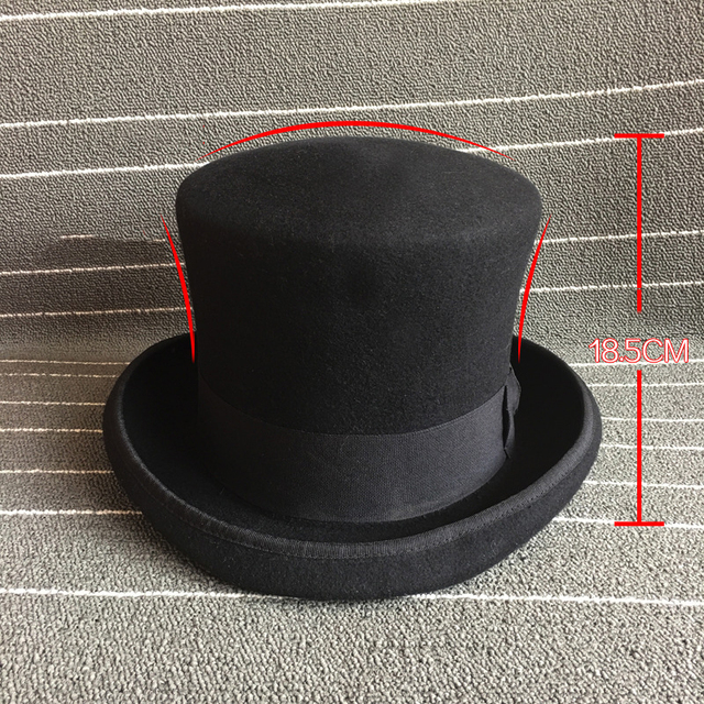 07243431113 18.5cm Plus Sizes Magician Bowler Hat Steampunk Victorian Formal Dome Top Black  Hat 100% Wool Felt Classic Fedoras Mad Hatter
