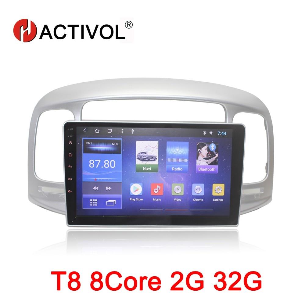 HACTIVOL 9 Octa Core 2g RAM 32g Voiture radio pour Hyundai Accent 2006-2011 Android 8.1 voiture lecteur dvd gps navigation wifi carte