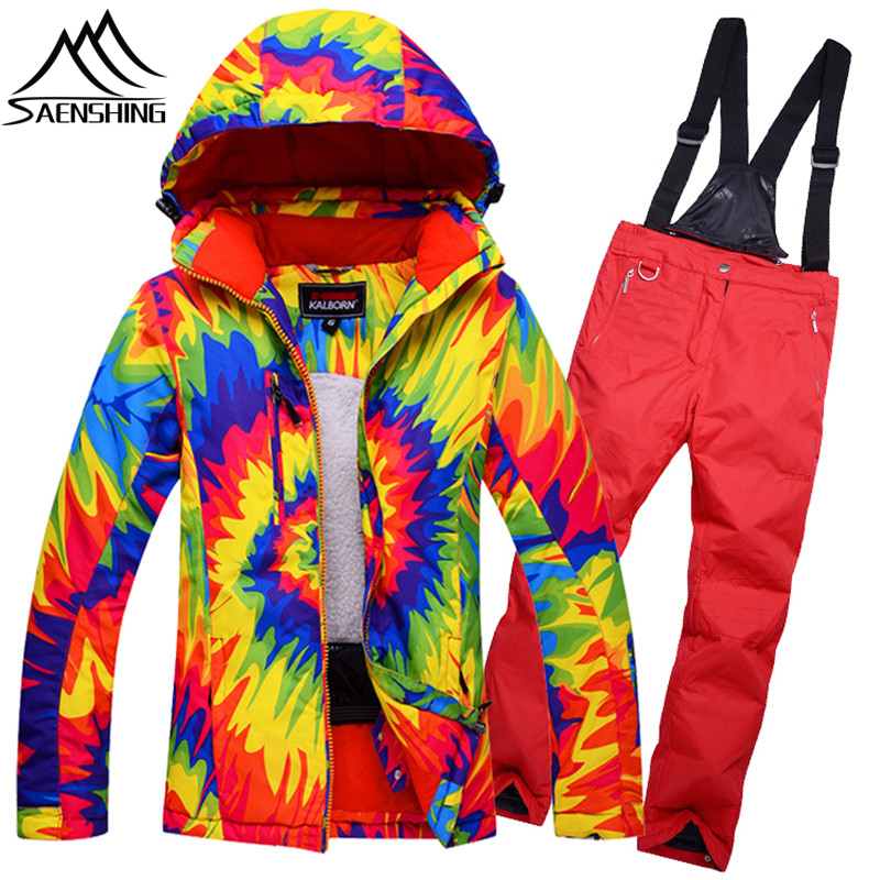2018 Nouvelles Femmes ou Des Hommes de combinaison de Ski Veste de Ski et Ski pantalon En Plein Air Manteau et Pantalon Coupe-Vent Imperméable Ski Costume pour les Amoureux