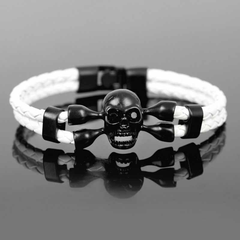 XQNI бренд поп Череп Кожаный мужской браслет Высокое качество Популярные Мальчики смелость рыцарство скелет мужской Шарм браслет ювелирные изделия