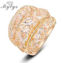Mytys 2016 Fashion Stardust Gold Mesh Crystal Ring Size 6 7 8 9 Clear Zircon Statement Rings women R561