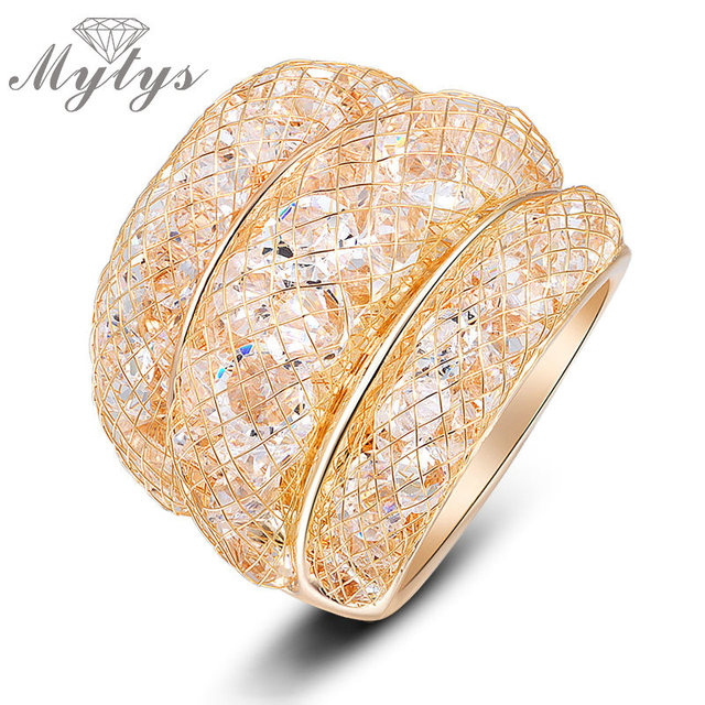 Mytys Fashion Gold Mesh Crystal Ring Size 6 7 8 9 10 Clear Zircon Statement Rings for Women R561