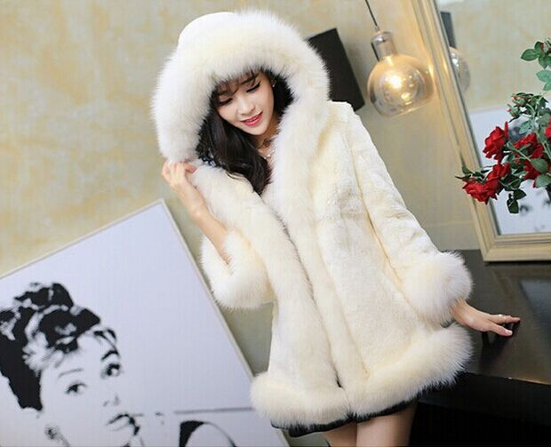 90a67508c2e Black White Casual Hooded Women Faux Fur Coat 2017 Casaco Feminino Plus  Size Female Slim Thick Long Fake Fox Fur Parka Coat X882