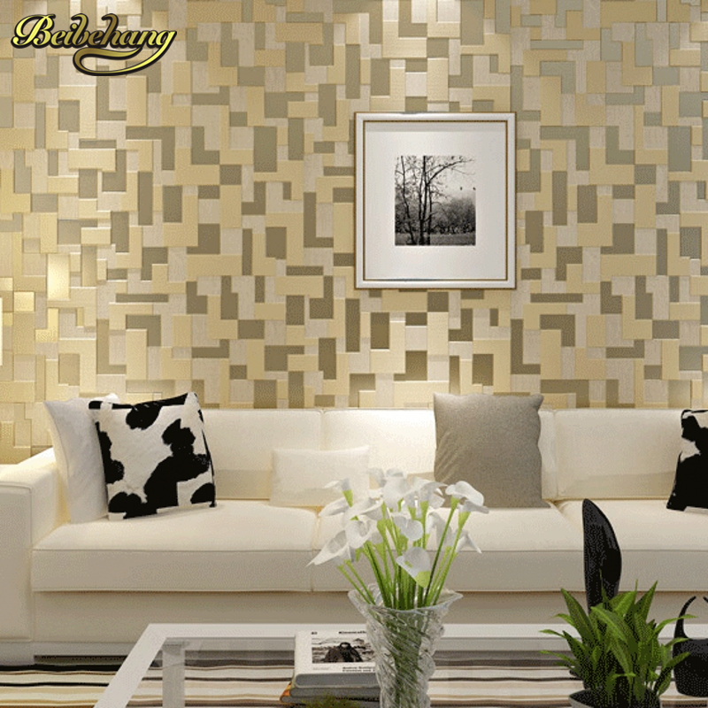 beibehang minimalist relief mosaic mural Wall Paper Home Decor TV Background Wallcovering 3D velvet Wallpaper for Living Room