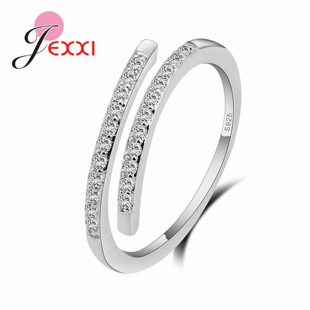 Top Grade Genuine 100% 925 Sterling Silver Geometric Sparking CZ Finger Rings for Women Fashion Open Ring Resizable