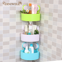 DINIWELL Bathroom Plastic Suction Wall Hanging Corner Storage Organizer Shelves Toothbrush And Cup Holder Storage Shelf