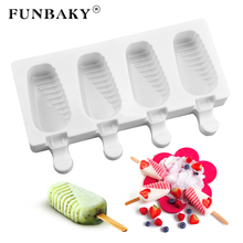 FUNBAKY 4 Cavities Food Grade Silicone Ice Cream Molds For Children Home With Popsicle Sticks Homemade Maker