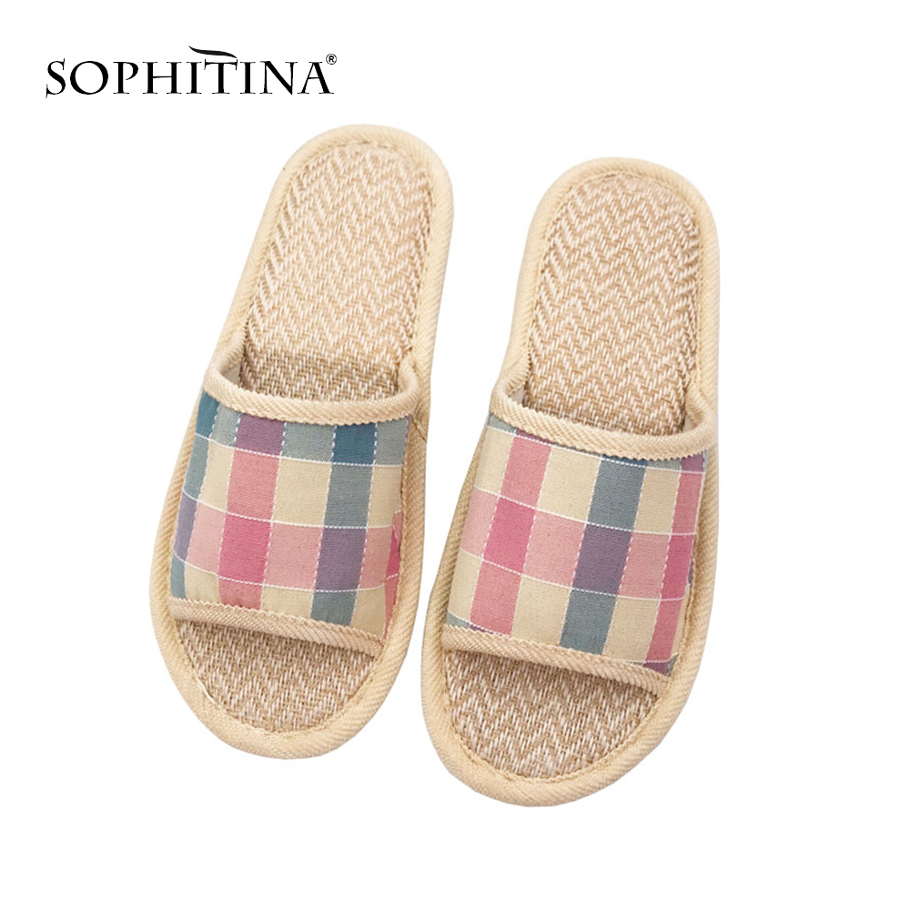 SOPHITINA New Casual Gingham Ladies Slippers Comfortable Summer Indoor Shoes Stylish Low Heel Round Head Women