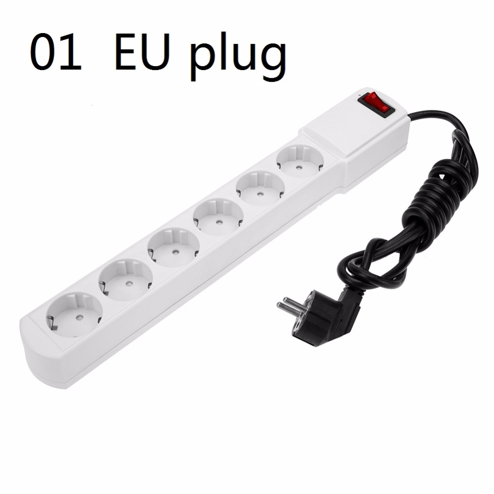 цена на 6 Outlet Extension Lead Adapter Power Sockets AC 110V-AC240V Power Strip EU or US Plug Overload Switch Surge Protector
