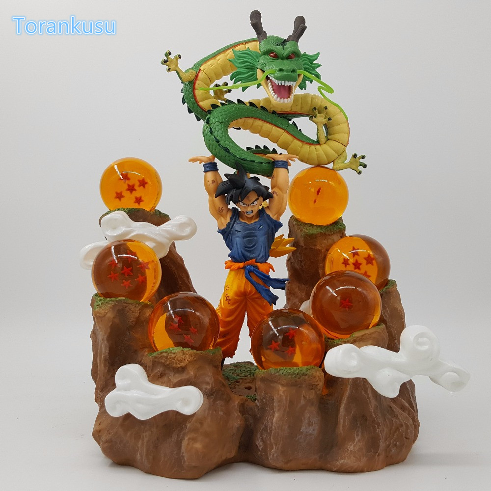 Dragon Ball Z Action Figure Son Goku Shenlong Mountain PVC Figure Dragon Ball Hill Collectible Model Toys Figuras DBZ DIY163 dragon ball gokou pvc action figures 15cm dragon ball z blue hair goku model doll figuras dragonball z dbz