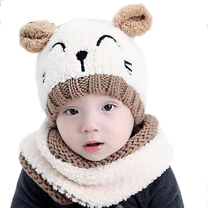 1 Set Winter Warm Baby Girls Boys Hat+scarf Set Toddler Baby Hat Caps Knitted Children's Cartoon Soft Cat Ear Hats Ring Scarf Discounts Price