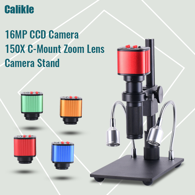 16MP Full HD 1080p HDMI USB Industrial Digital Electronic Microscope Camera+MINI Stand+Zoom 150x C Mount Zoom Lens for PCBRepair