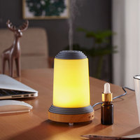 Home Office Aromatherapy Oil Diffuser 7 Shooting LED Light Ultrasonic Air Essential Oil Humidifier Wood Grain