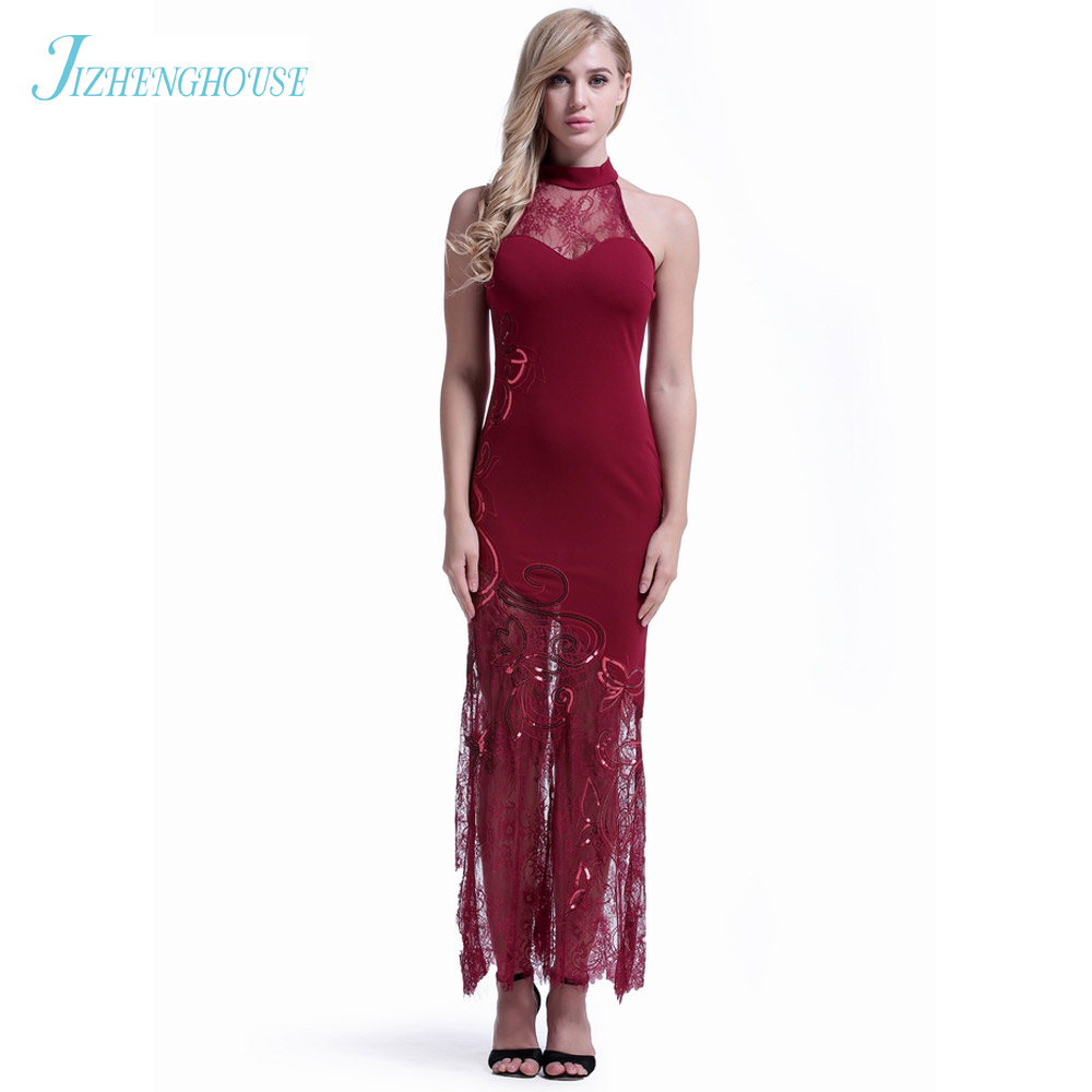 JIZHENGHOUSE Wholesale Lace Halter Sleeveless Summer Female Sexy Party Dresses Women Bandage Maxi Dance Club Dress