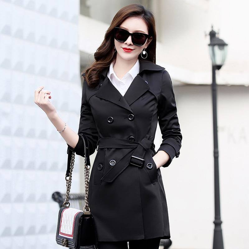 Printemps black Femmes Blue Veste Outwear red Automne Beige Coupe Réglable Femelle As611 vent dark Grande Manteau Haute Taille Qualité 2018 khaki CxBdroe