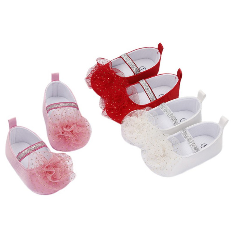 Baby Toddler Shoes Non-Slip Cute Flower Shoes Dress Shoes 0-1 Years Old Soft Baby First Walkers Shoes