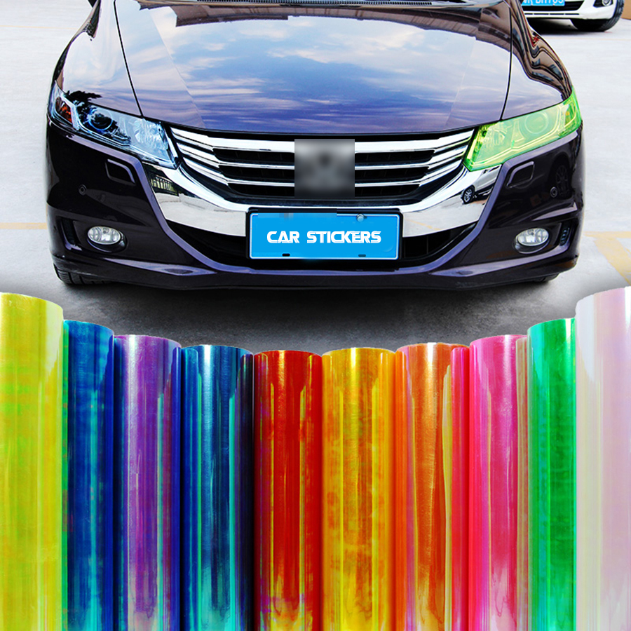 Car Styling 13 Colors 30x100cm Car Light Headlight Taillight  Protect Film Sticker On Lamp Stickers Brake Light Accessories AJ
