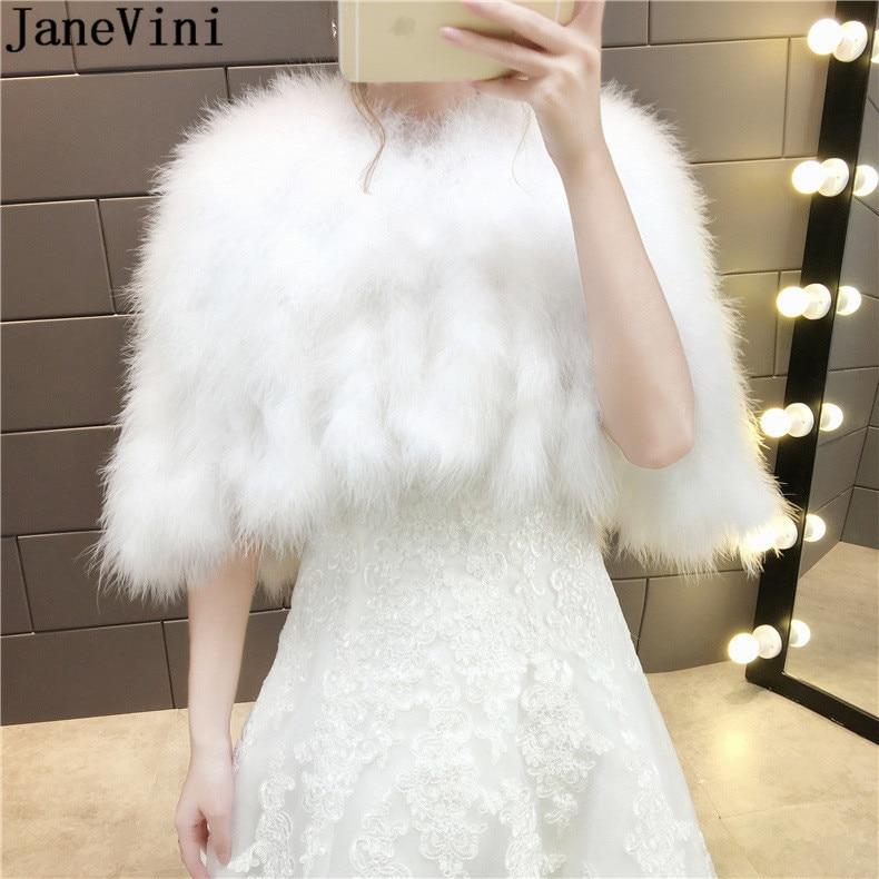 JaneVini 2019 Ostrich Feather Women Bolero White Bridal Capes Cloak Faux Fur Bolero Winter Autumn Wedding Wrap Shawl Bride Coat