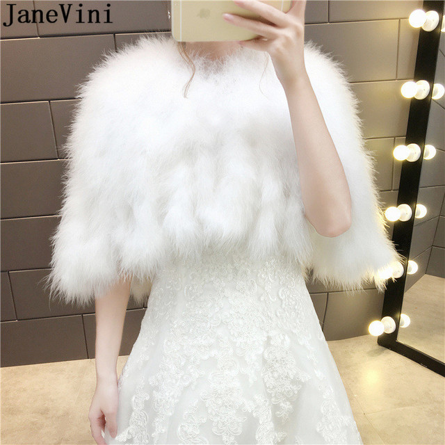 79aa6df1799 JaneVini 2019 Ostrich Feather Women Bolero White Bridal Capes Cloak Faux  Fur Bolero Winter Autumn Wedding Wrap Shawl Bride Coat