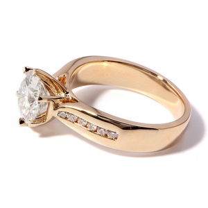 Image 5 - TransGems 2 Carat Lab Grown Moissanite Diamond Solitaire Wedding Ring  moissanite Accents Solid 14K Yellow Gold Band for Women