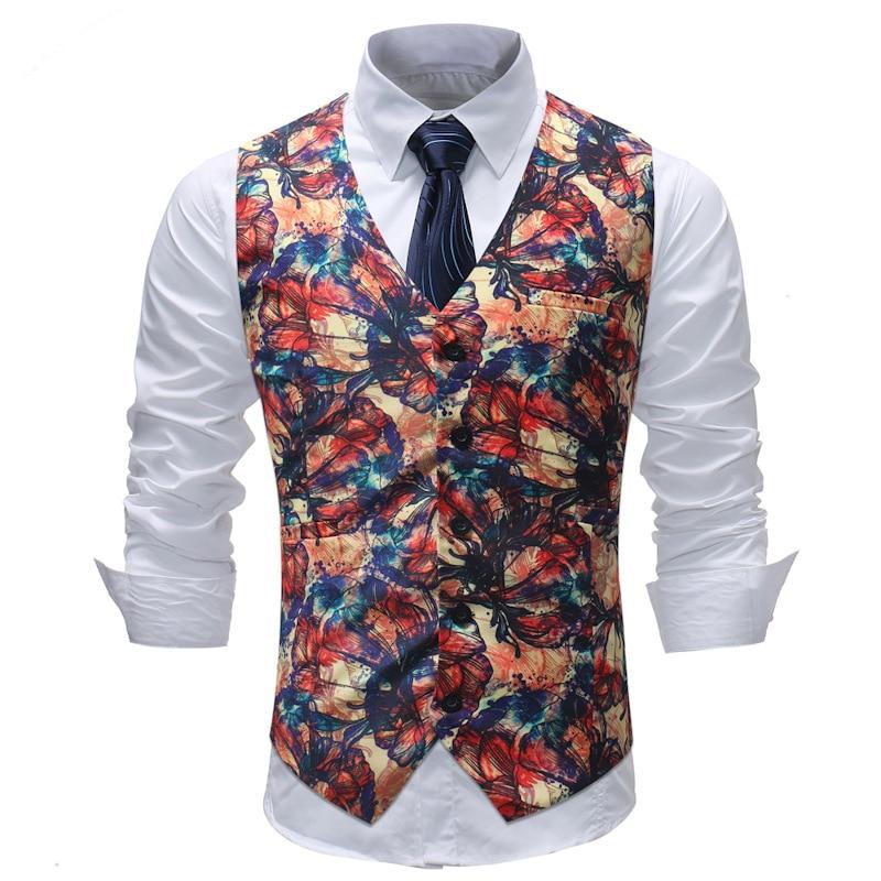 710861afdc8 New M-5XL Men s Vest 2018 New Chalecos Para Hombre Men Fashion Print ...