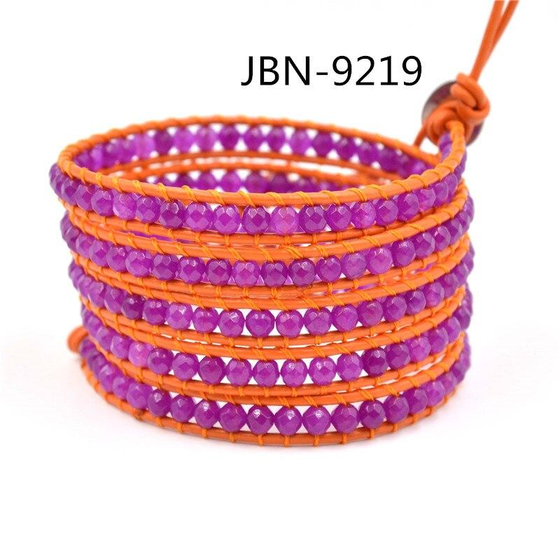 Rose red bracelets genuine leather multiayer bracelet natural stone bracelets jewelry orange red leather bracelet femme JBN-9219