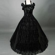 18 век Топ распродажа черный без рукавов Кружева Готическая викторианская Лолита платье Рококо/грузинская Marie Antoinette Бальные платья для женщин