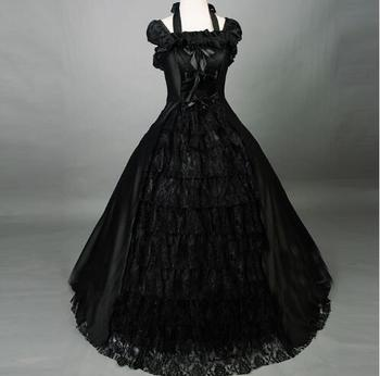 18th Century Top Sale Black Sleeveless Lace Gothic Victorian Lolita Dress Rococo/Georgian Marie Antoinette Ball Gowns For Women