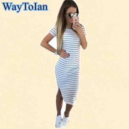 f416e005 WayToIan Fashion Summer Striped Dress Women Short Sleeve O Neck Mid-Carf  Bodycon Dress Side Split T Shirt Dresses Plus size 2XL