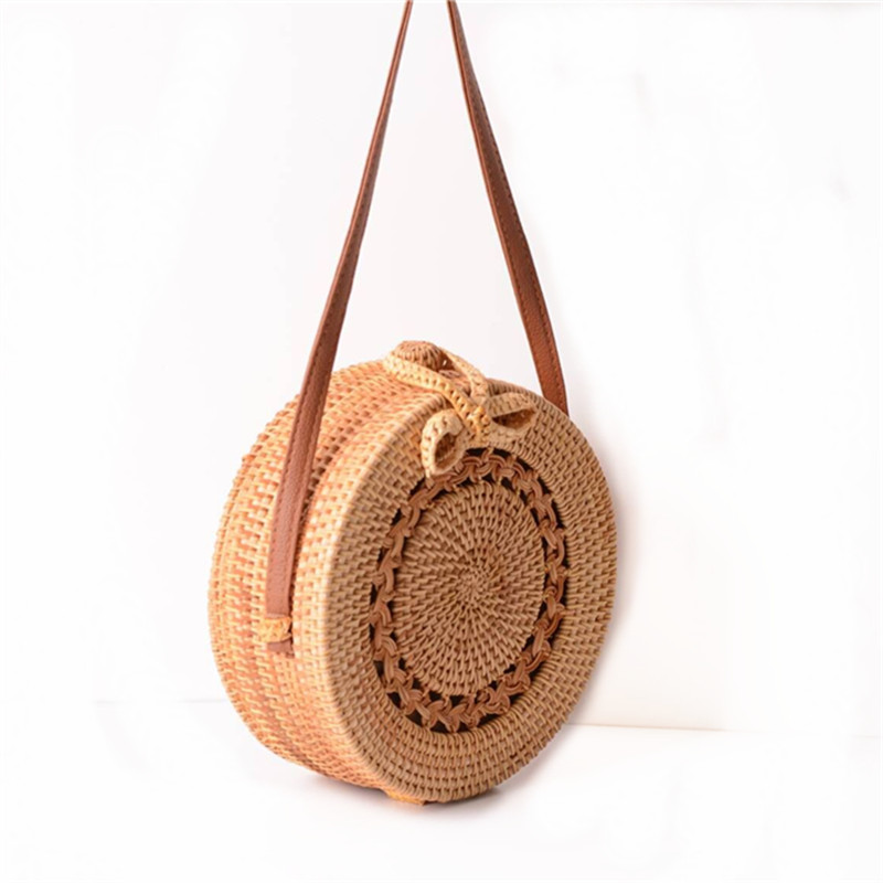 18 Round Straw Bags Women Summer Rattan Bag Handmade Woven Beach Cross Body Bag Circle Bohemia Handbag Bali 3