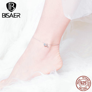 BISAER Mermaid Anklets 925 Sterling Silver Mermaid's Story Chain Silver Anklets for Women Sterling Silver Jewelry ECT004