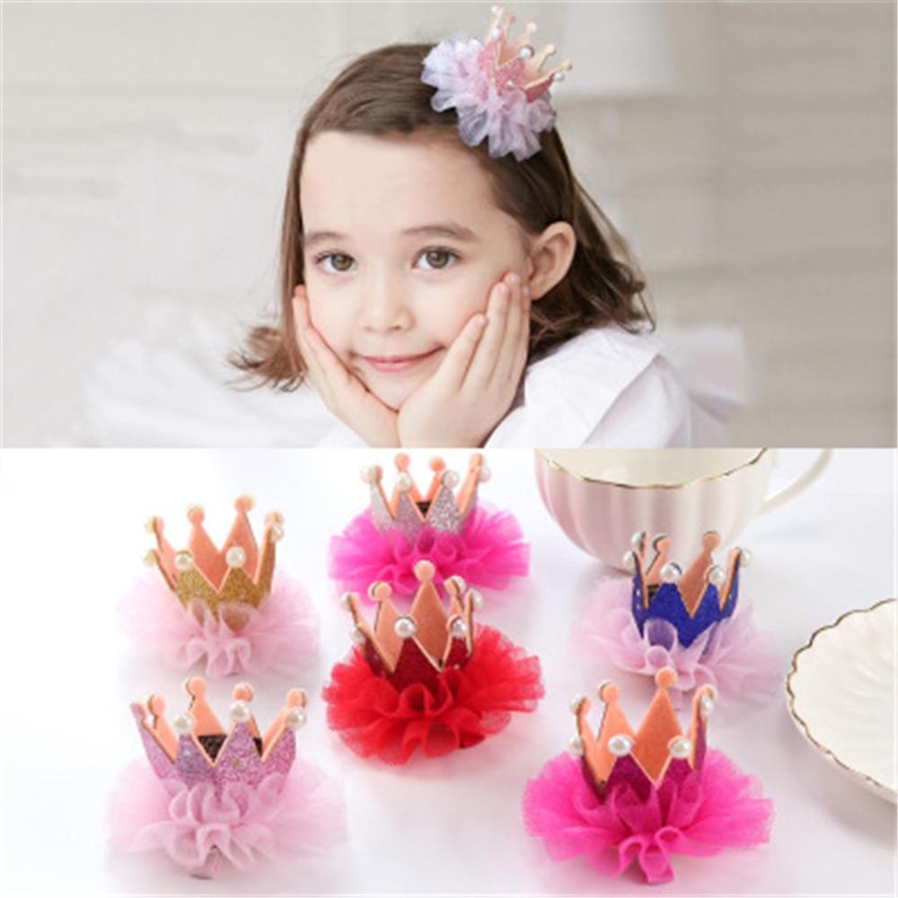 Hot Sale New Fashion Princess Crown Kids Hair Clip Lace Pearl Crown Kids Hairpin BeBe Girl Hair Accessories Kids Headwear Gifts