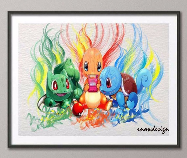 original squirtle bulbasaur charmander pokemon watercolor wall art