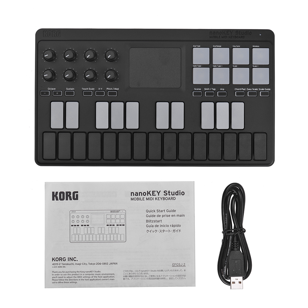 US $122 19 35% OFF|KORG nanoKEY Studio Portable MIDI Keyboard Controller  Supports Wireless BT & Wired USB Connection for mobile phone Windows-in