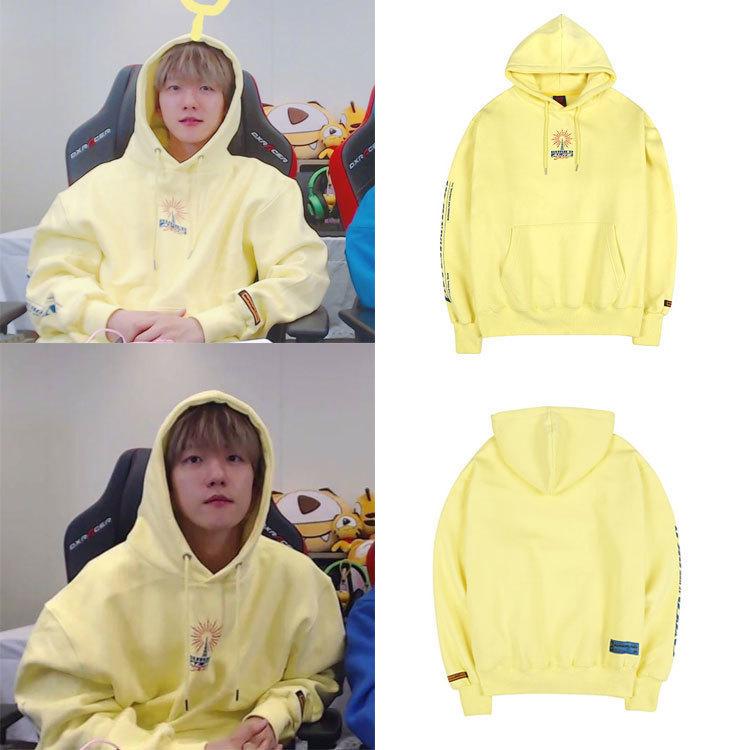 Kpop EXO BAEK HYUN Streetwear Harajuku Yellow Hoodies Korean Women/Men Long-sleeved Casual Hooded Sweatshirt Female Fans Clothes