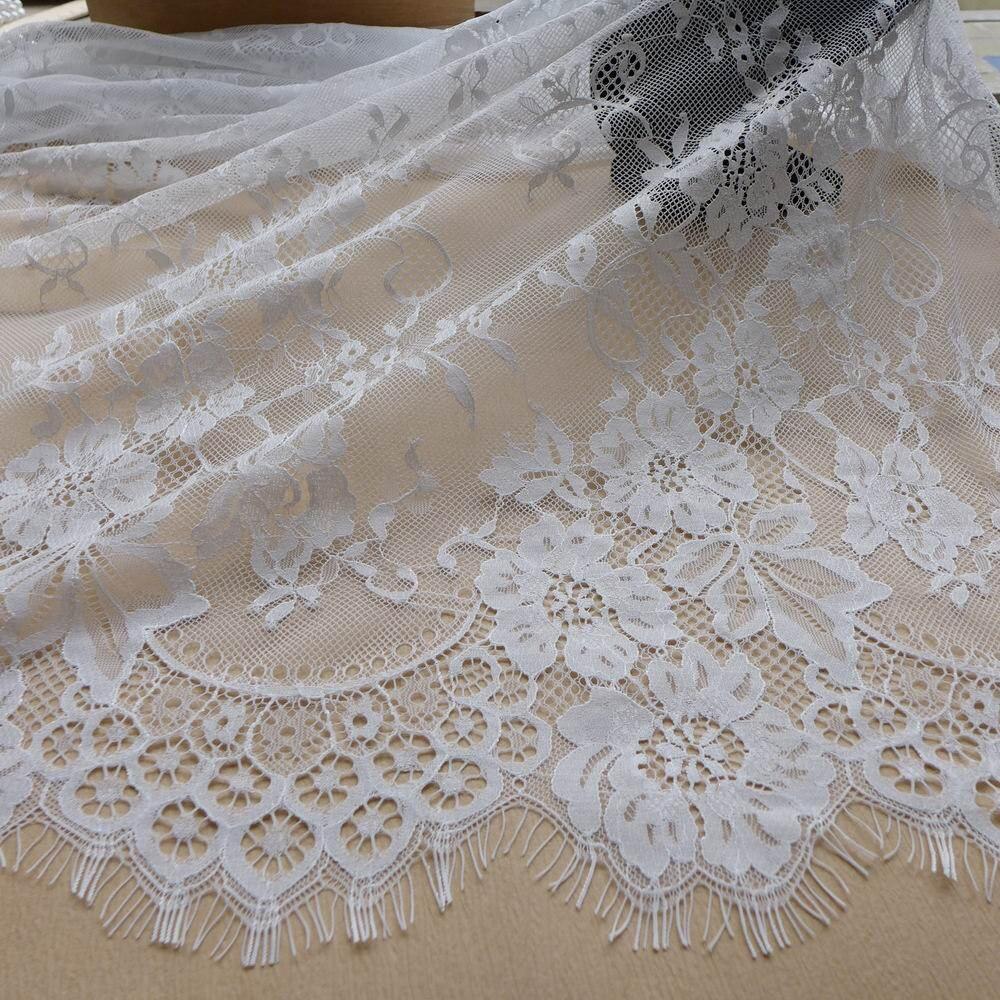 Tende In Pizzo Chantilly.3 Metri Bianco Francese Chantilly Lace Tessuto Per Il Vestito Da