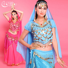Belly Dance Dress with Coin Belly Belt Women Dance Tops Costume Woman for Stage Bollywood Dance