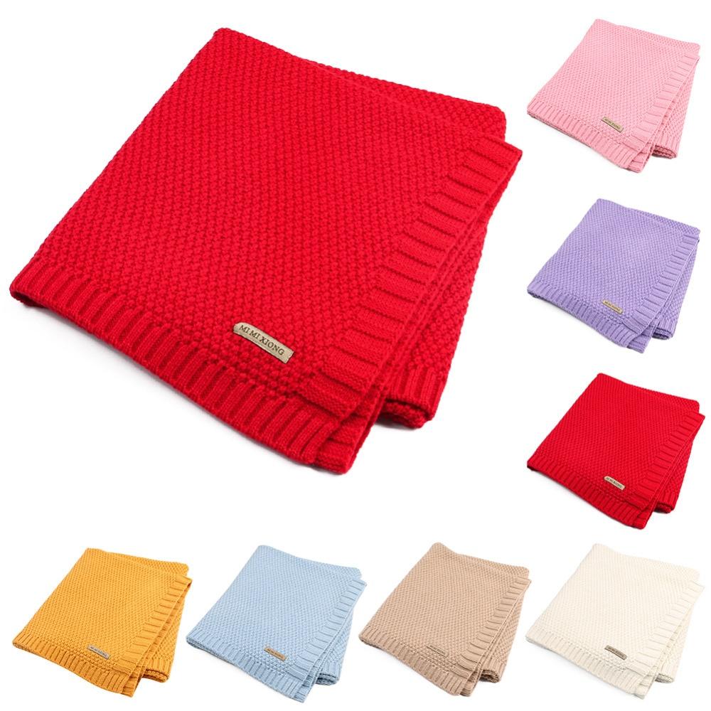 Bebé recién nacido manta de bebé de punto de algodón de ganchillo mantas Swaddle Wrap elástico suave cuna dormir ropa de cama para niños niñas niños