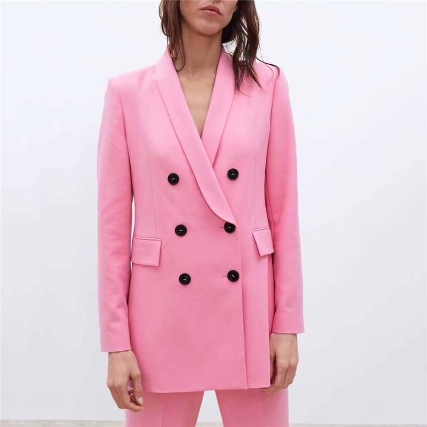 Women Chic Pink Blazer Pockets Double Breasted Long Sleeve Office Wear Coat Solid Female Casual Outerwear Tops