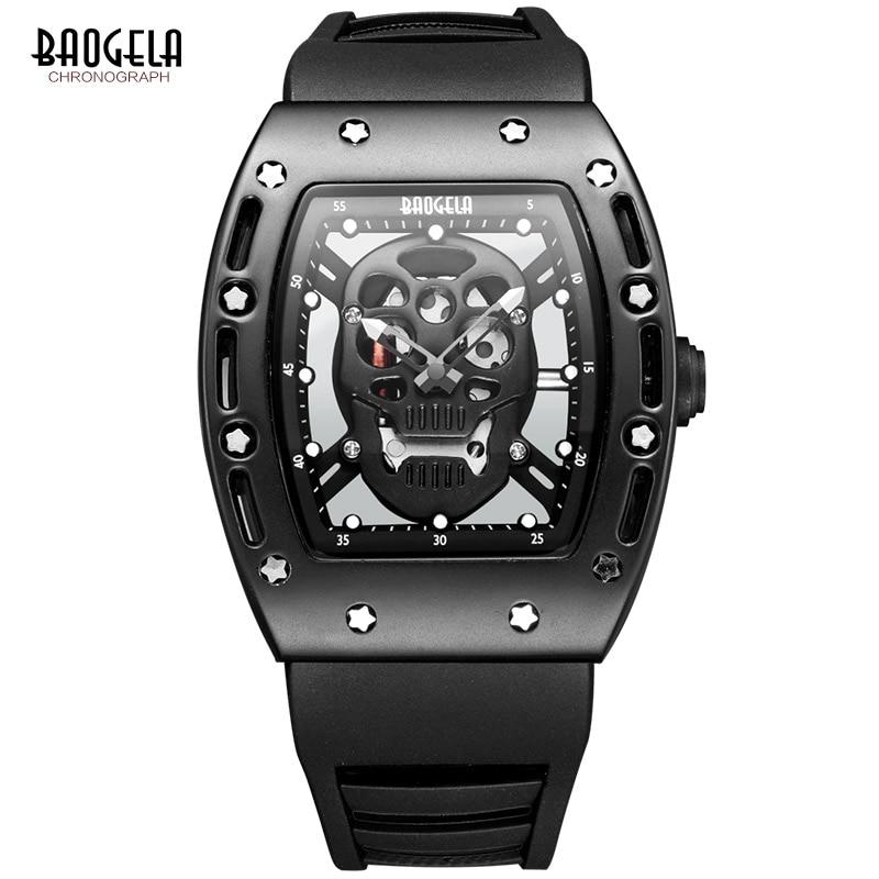Image 3 - Baogela Pirate crâne Style hommes montre Silicone lumineux Quartz montres militaire étanche squelette montre bracelet pour homme-in Quartz Watches from Watches