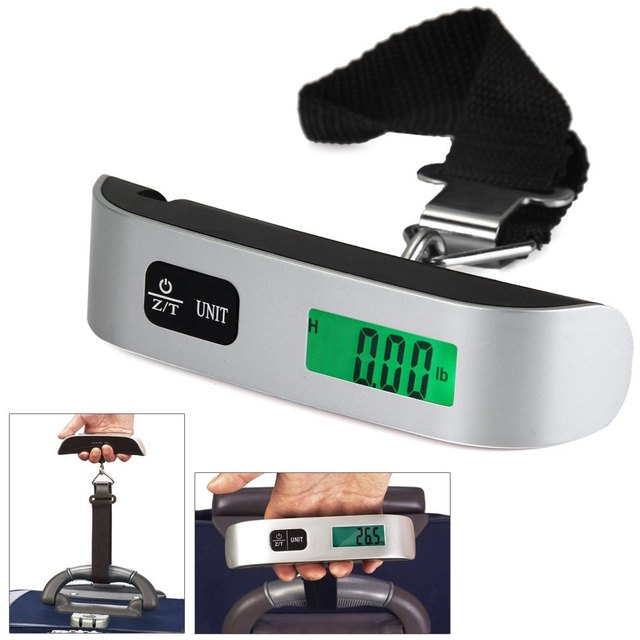 Electronic Hanging Scale Thermometer 50kg Capacity Weighing Device Mini Digital Luggage Scale Hand Held LCD Electronic Scale