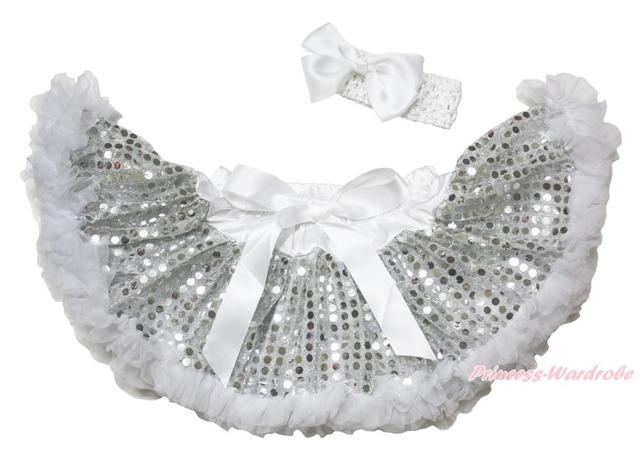 Navidad blanco plata Bling de la chispa de las lentejuelas recién nacido los bebés Pettiskirt Tutu 3 - 12 M