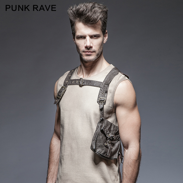 Punk Rave Spring Man Gothic Designer Brand Multifunctional Straps Big Pocket Vest