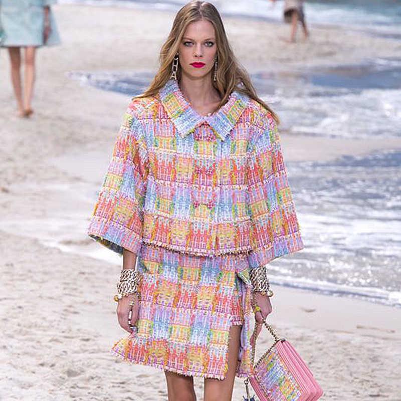 ผู้หญิงเสื้อTweed VibrantสีPLUSขนาดเสื้อผู้หญิงและMatchชุดกระโปรง 5XL 6XL casaco femininoชุด 2 ชิ้นabrigo mujer